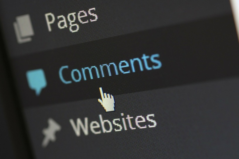 "Close up of a drop-down menu, where the cursor is hovering over the word ""comments"""