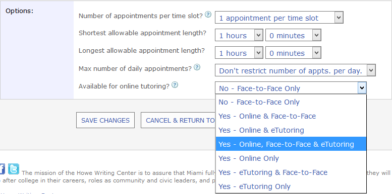 "Screenshot from WCOnline that shows the drop-down menu for labeling consultants as available for ""online, face-to-face, and eTutoring"""