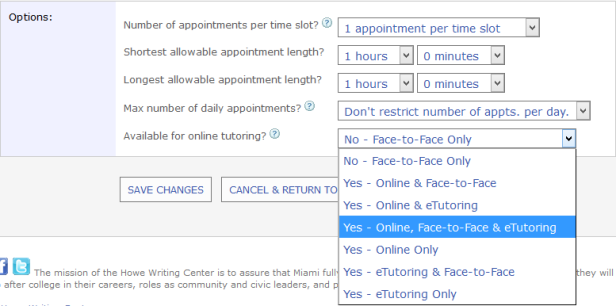 """Screenshot from WCOnline that shows the drop-down menu for labeling consultants as available for """"online, face-to-face, and eTutoring"""""""