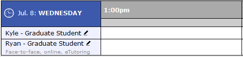 """Screenshot of a schedule in WCOnline, where a consultant named Ryan has """"face-to-face, online, and eTutoring"""" listed below his name"""