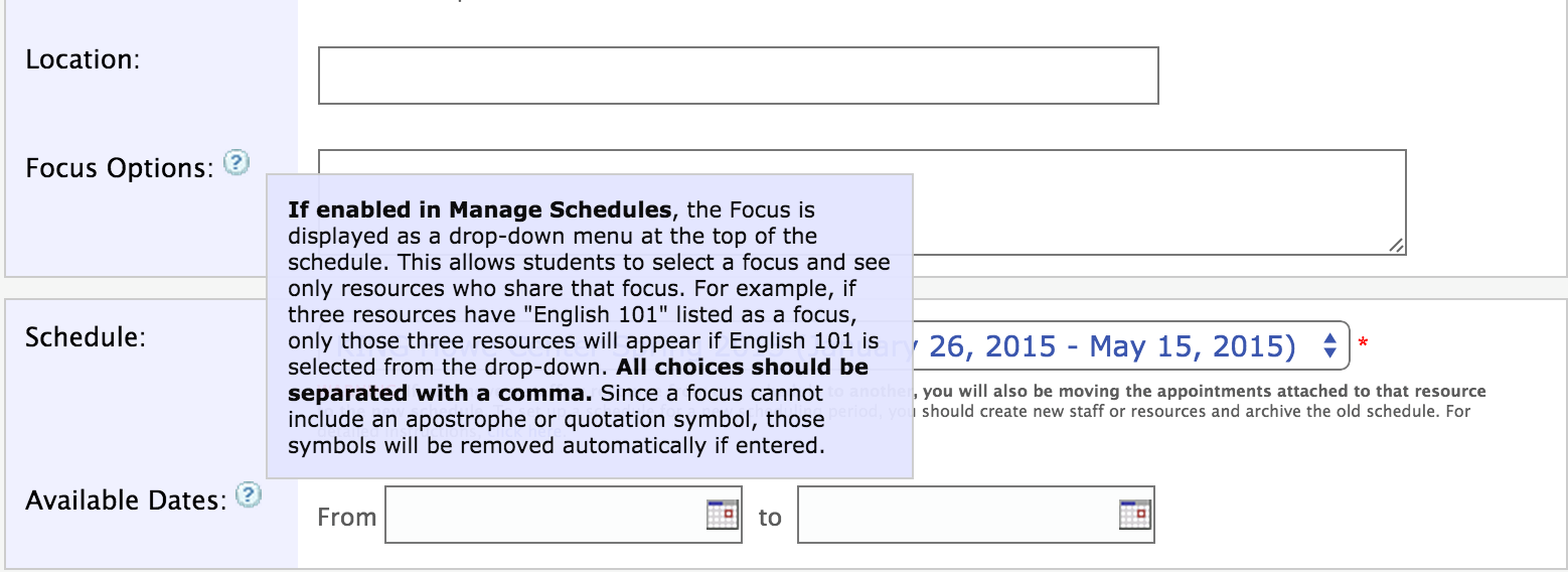 "Screenshot of administrative options in WCOnline, where administrators can list ""focus options"" for a consultant"