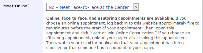 Screenshot of the appointment form in WCOnline, which asks students whether they want to meet online and provides a description of next steps for students who schedule online appointments