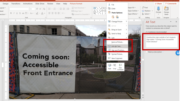 Screenshot of alternative text feature for image in PowerPoint. Additional information in text