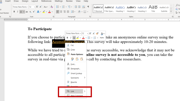 Screenshot of how to insert a hyperlink in Microsoft Word. Additional details in text