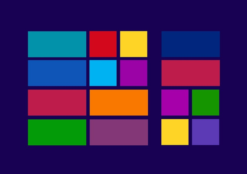 Interconnected blocks of various bright colors